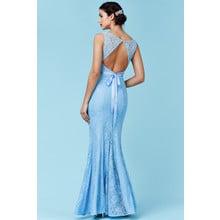 Goddiva Open Back Lace Maxi Dress with Ribbon Tie - Blue