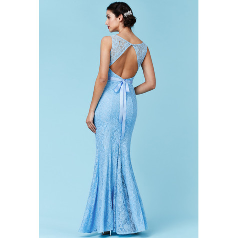 Goddiva Open Back Lace Maxi Dress with Ribbon Tie - Blue