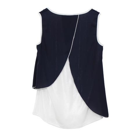 SophieB Navy Asymmetric Sleeveless Top