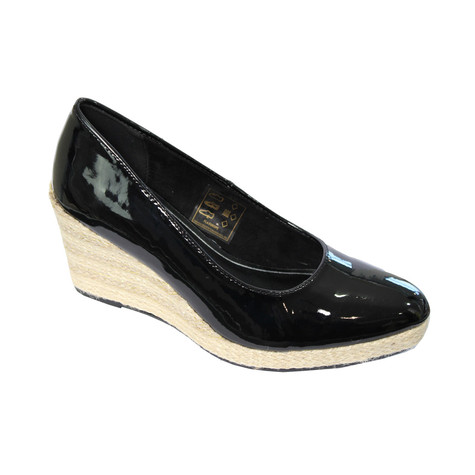 CORTINA Black Patent Wedge Shoes
