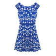 Zapara Royal Blue Dainty Floral Pattern Dress