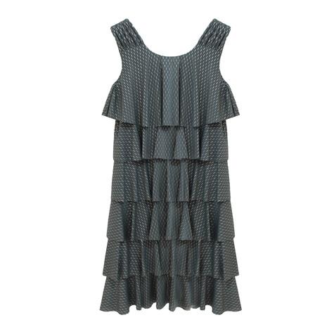 Zapara Khaki Layered Fine Metallic Pattern Dress