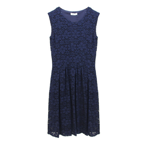 Zapara Navy Lace Cap Sleeve Dress