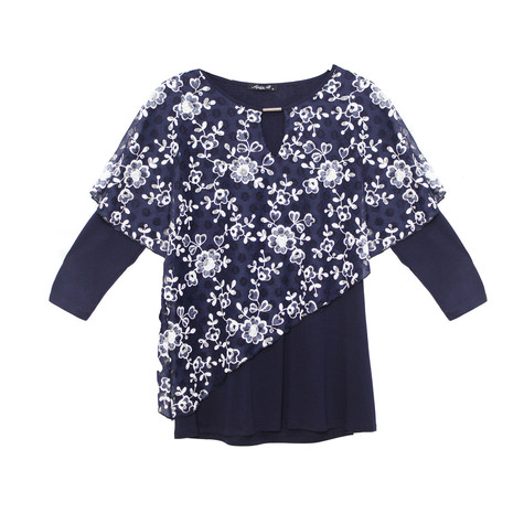 SophieB Two Tone Floral Cape Top