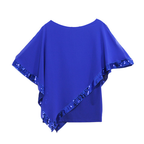 Zapara Royal Blue Cold Shoulder Sequin Trim Top