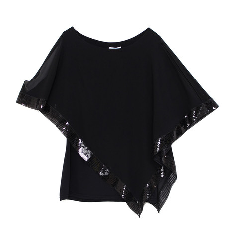 Zapara Black Cold Shoulder Sequin Trim Top