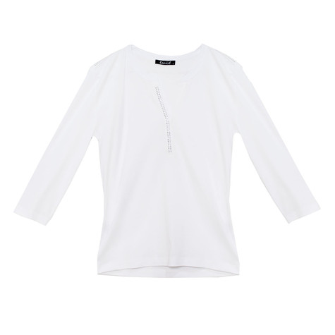 Twist White Henley Top with Crystal Details