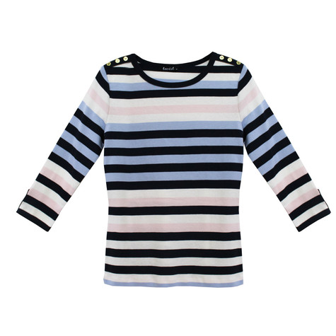 Twist Multi-Stripe Long Sleeve Top
