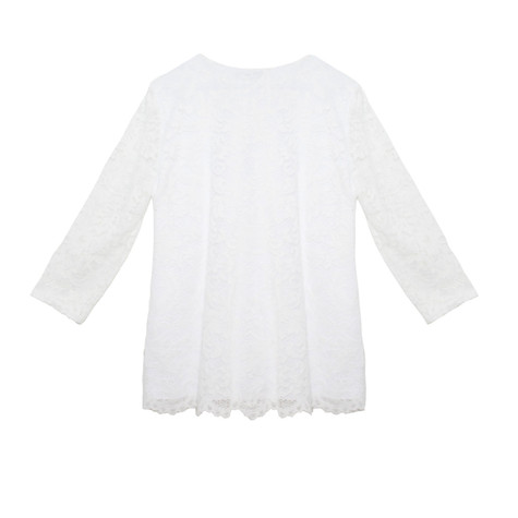 SophieB White Lace Zipper Top