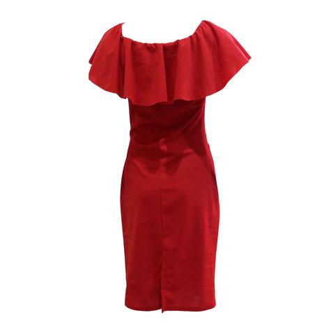 Zapara Red Bardot Neckline Dress