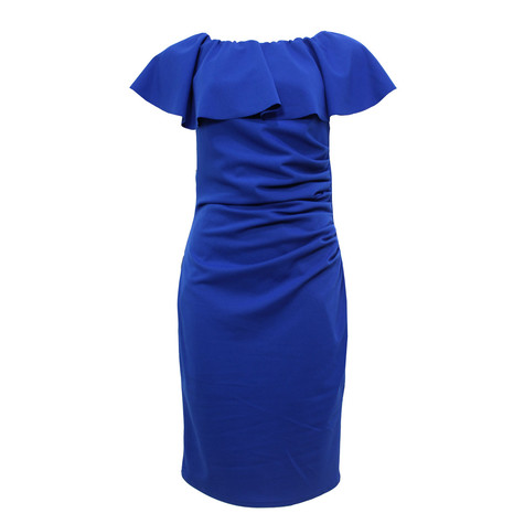 Zapara Blue Bardot Neckline Dress