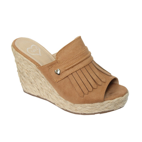 Fabulous Tan Micro Fibre Peep Toe Mule Wedges