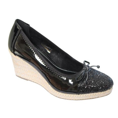 CORTINA Black Patent Toe Cap Wedge Shoes