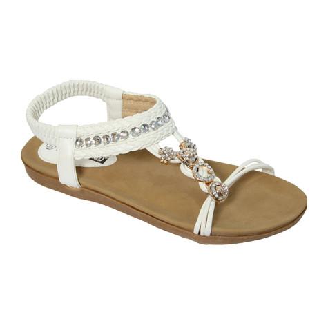 Vice Verso White T-Strap Elastic Sandal