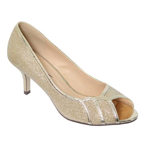 Barino Gold Peep Toe Kitten Heels | Pamela Scott
