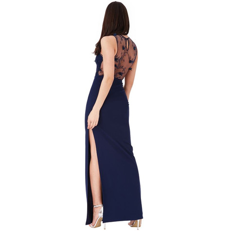 City Goddess NAVY FLORAL EMBROIDERED MAXI DRESS