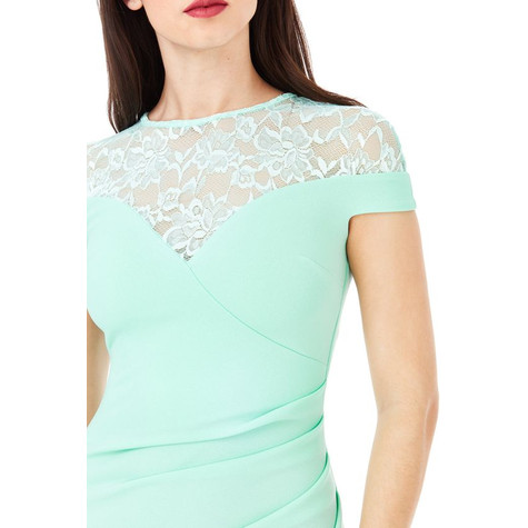 City Goddess MINT PLEATED MAXI DRESS WITH LACE DETAIL