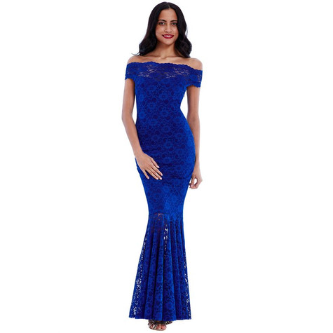 City Goddess ROYAL BLUE BARDOT LACE MAXI DRESS