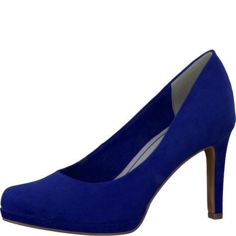 Marco Tozzi Royal Blue Micro Fibre Slim Platform Court Shoe