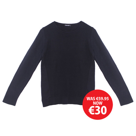 Twist Navy Round Neck Knit