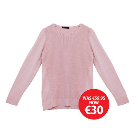 Twist Pale Pink Round Neck Knit