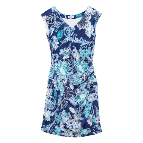 Zapara Floral Drape Side Dress