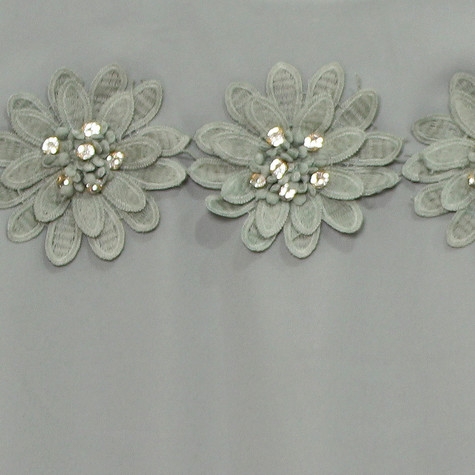 Zapara Khaki Daisy Crochet Flower Detail Top