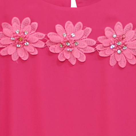 Zapara Cerise Daisy Crochet Flower Detail Top