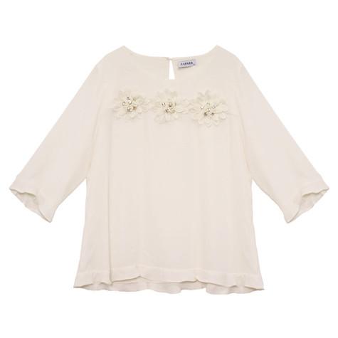 Zapara Green Daisy Crochet Flower Detail Top