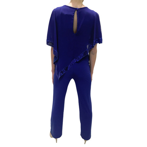 Zapara Royal Blue Glittery Jumpsuit