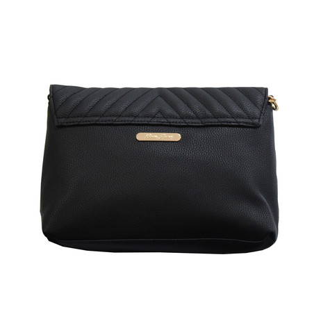 Love Juno Black Quilted Clutch Bag
