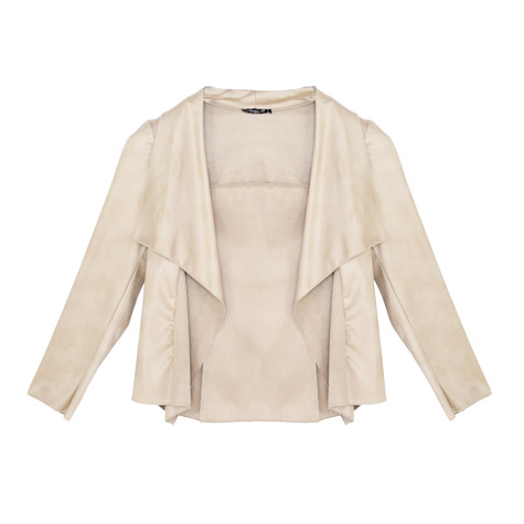 SophieB Nude Faux Leather Open Jacket