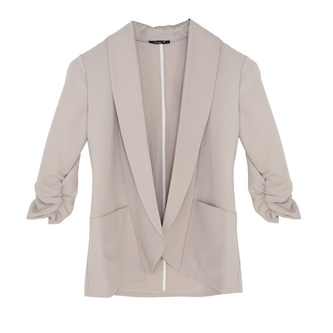 SophieB Beige Rouched Sleeve Light Jacket