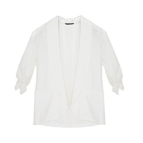 SophieB Off White Rouched Sleeve Jacket