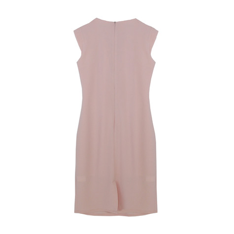 Zapara Pale Pink Pleat Line Neck Dress