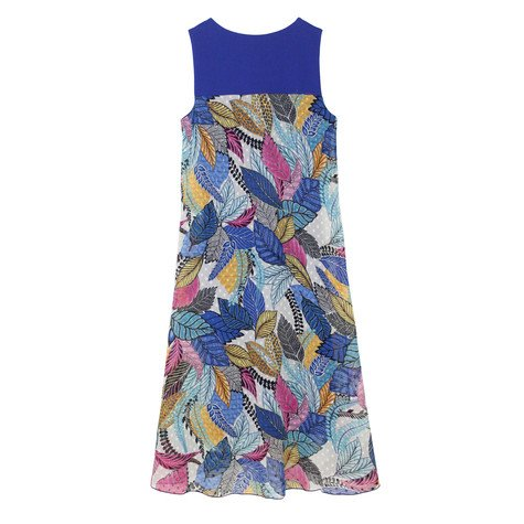 SophieB Blue Shoulder Floral Print Long Dress