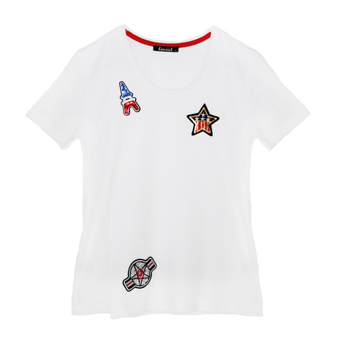 Twist White Tee with Patch Details