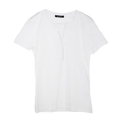Twist White Henley Diamante Shoulder Top