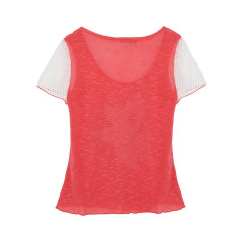 SophieB Coral Floral Print Mesh Sleeve Top
