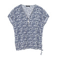 SophieB Denim & White Floral Zip Detail Top