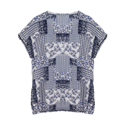SophieB Blue & White Pattern Top
