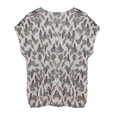 Twist Cream V-neck Leaf Pattern Print Blouse