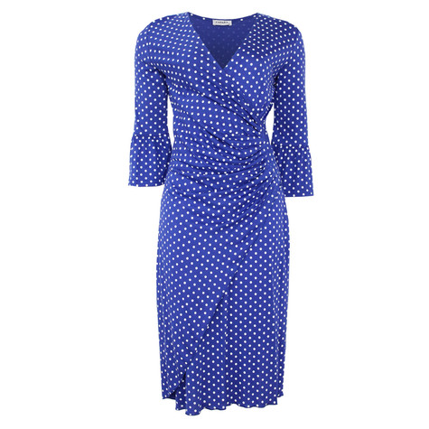 Zapara Royal Blue Polka Dot Wrap Dress