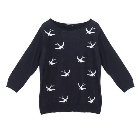 Twist Navy & White Bird Pattern Knit