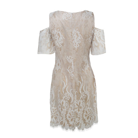 Ronni Nicole Beige Cold Shoulder Lace Dress