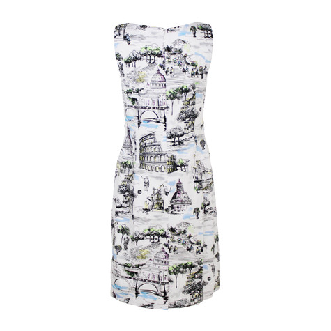 Chetta B White Rome Print Sleeveless Dress