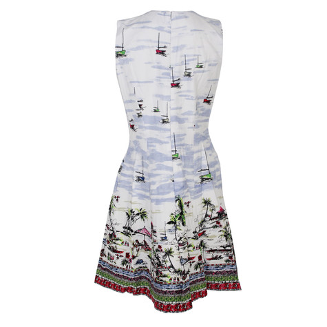 Chetta B Ivory & Marin Boat Theme Print Dress