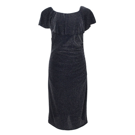 Zapara Navy Bardot Neckline Dress