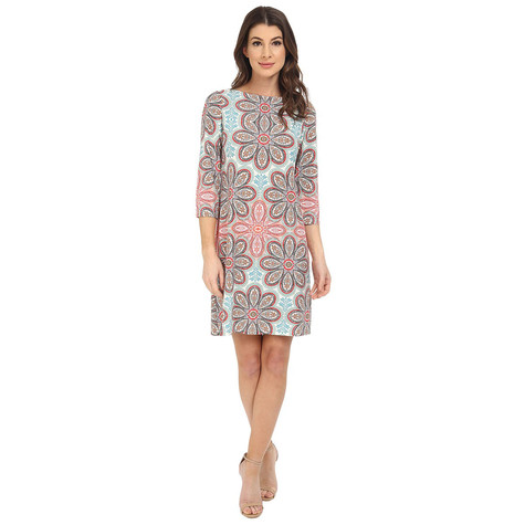London Times London Time Aqua Multi Print Dress