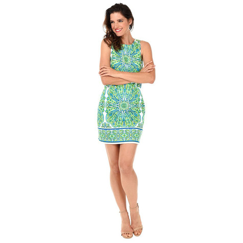 London Times White & Turquoise Print Dress